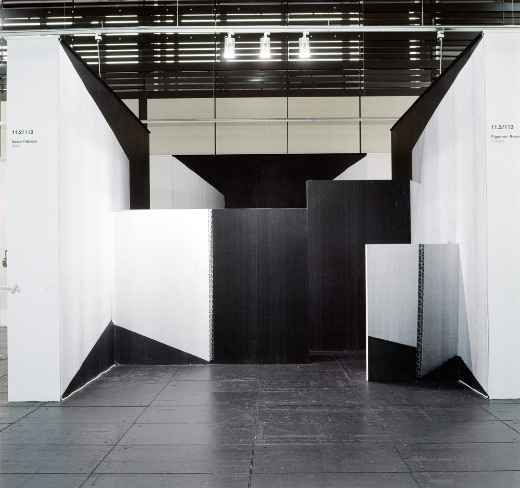 ohne Titel, ca. 2 x 350cm x 450cm + 350cm x 400cm, black & white prints, wood, 2008 <br />Installation view Sassa Trülzsch, Artforum Berlin