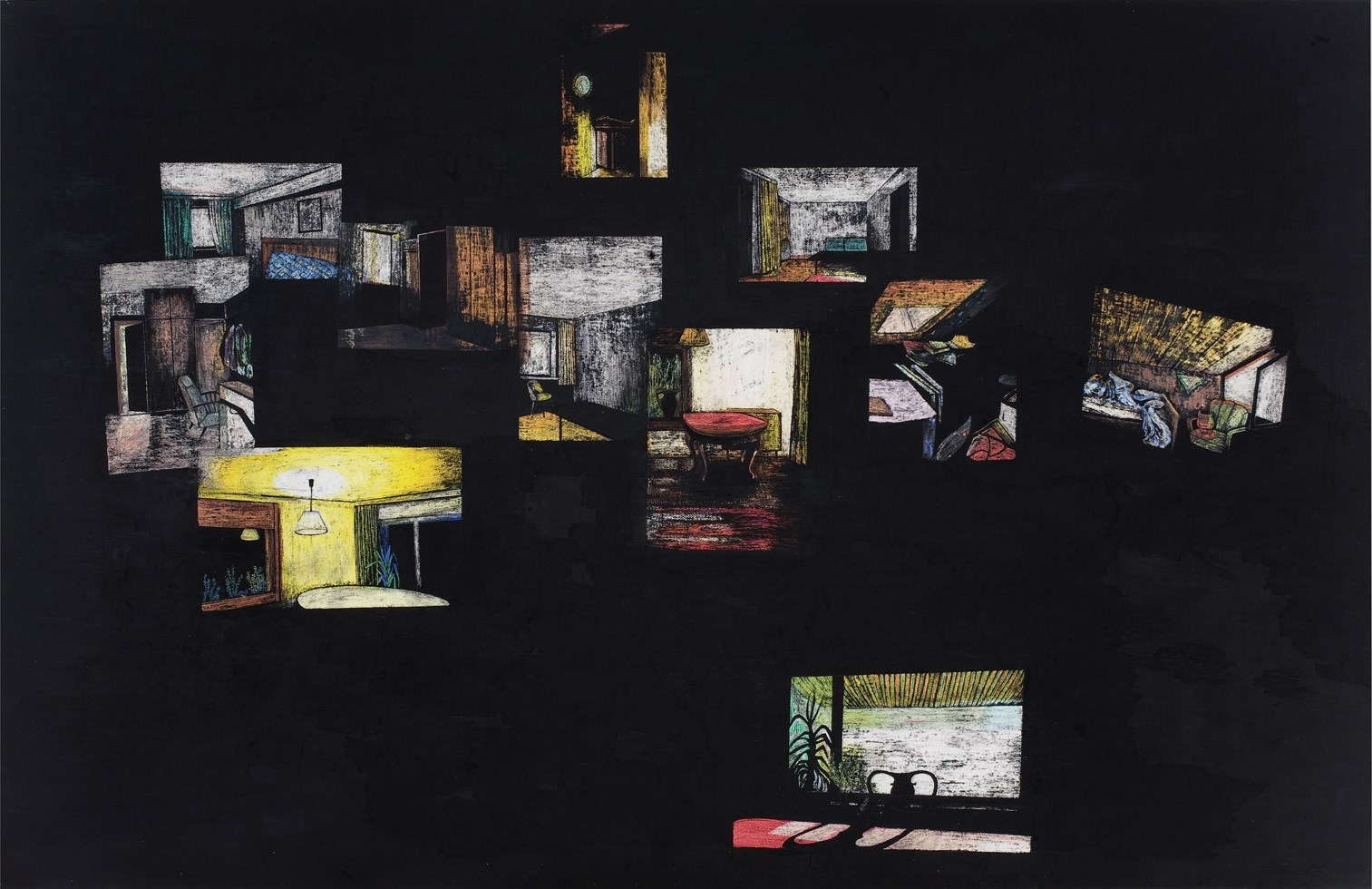 Dompfaffweg 6, 130cm x 200cm, oil pastels and oil paint on paper, 2008