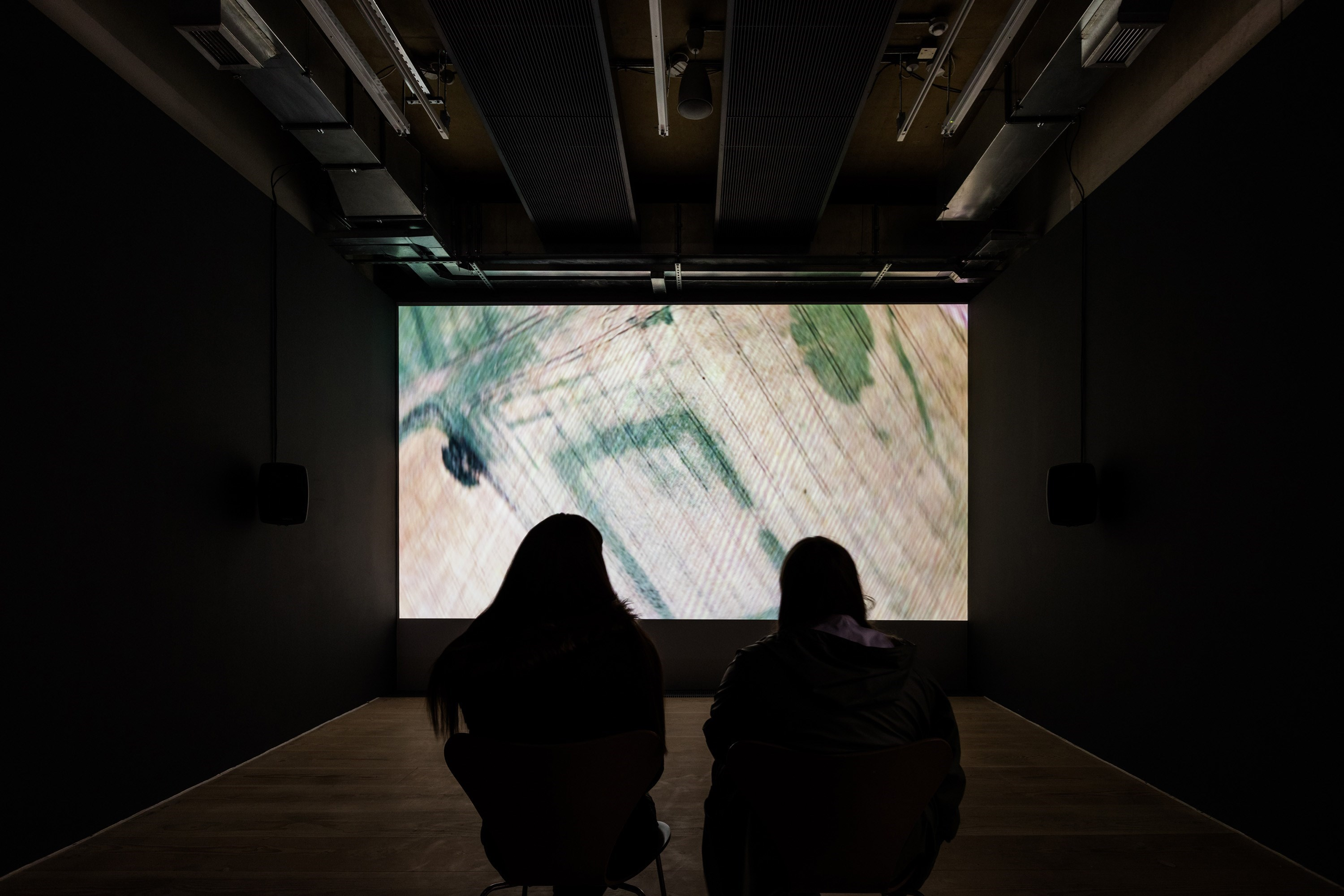 aerial, video, sound, 42 min., 2017/2018<br />installation view Caprona, Focal Point Gallery, Southend, GB