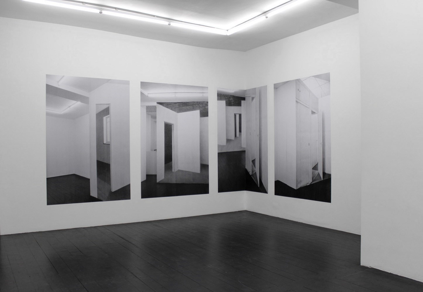 Rohbaucollage II, 4 x 210cm x 140cm, black & white prints, 2011<br />Installation view Carl Freedman Gallery, London