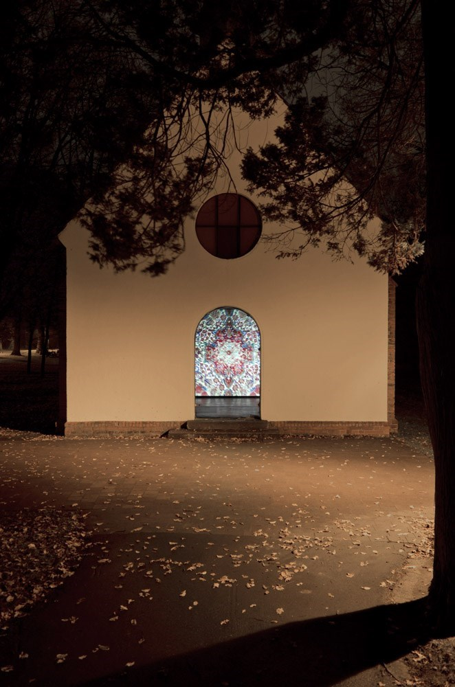 Kerman, 2 min. loop, 35mm digitized, 2012<br />Installation view Kunstverein Langenhagen Kapelle im Eichenpark