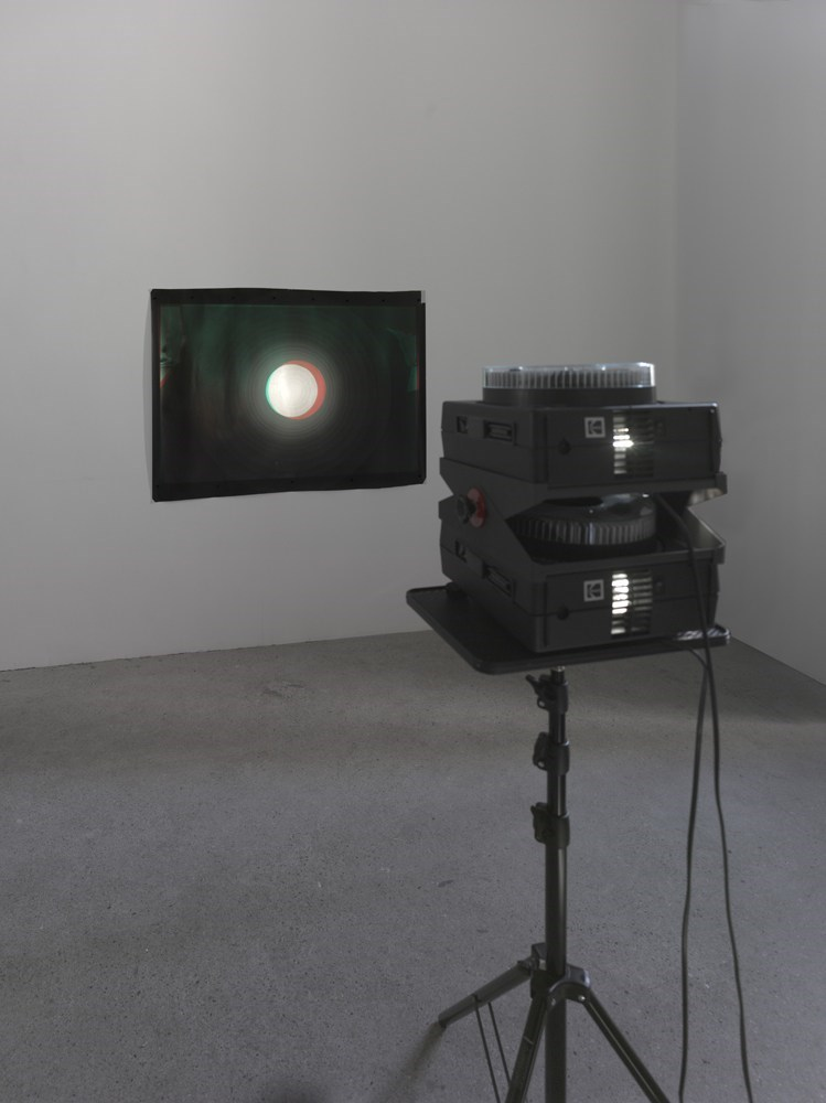 Kreise, 2 x 80 black and white slides, photogram, 90cm x 130cm, silver gelatin print, 2012<br />Installation view Sassa Trülzsch, Berlin