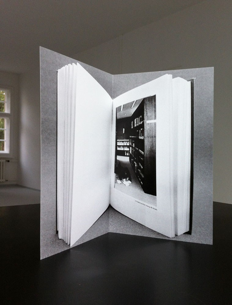 A student at ease among the books, 21 cm x 26,5 cm, folded offset print, edition of 50, 2014