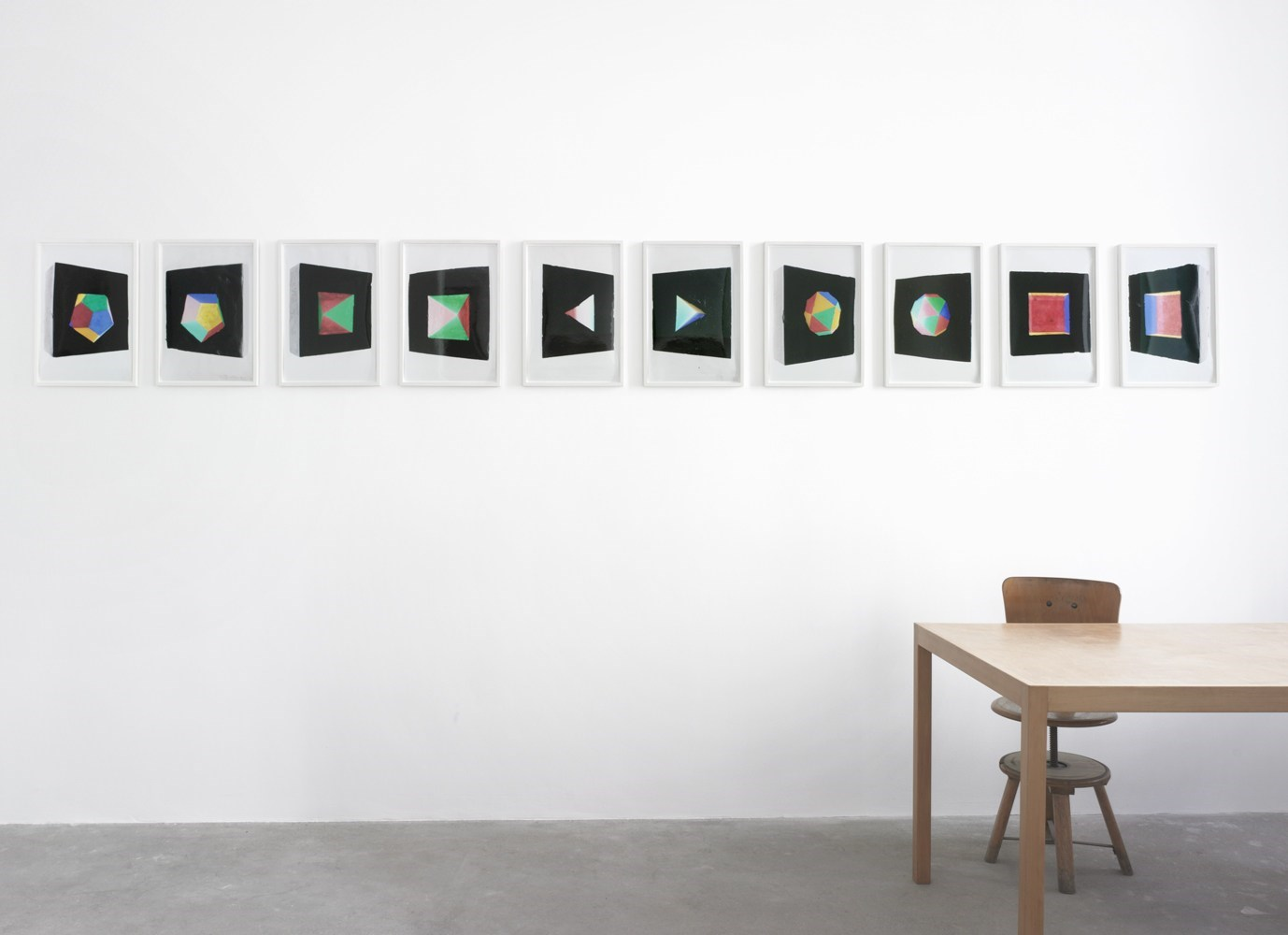 Platonische Körper, 45cm x 30cm each, series of 5 x 2 C-prints, 2012<br />Installation view Sassa Trülzsch, Berlin