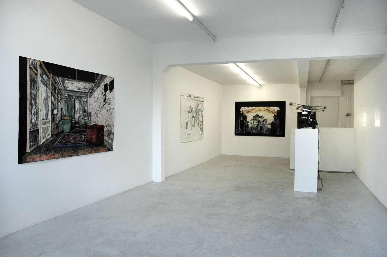 The Tenant, ca. 150cm x 180cm, oil pastels and oil paint on paper, 2006<br />Installation view Galerie Martin van Zomeren, Amsterdam