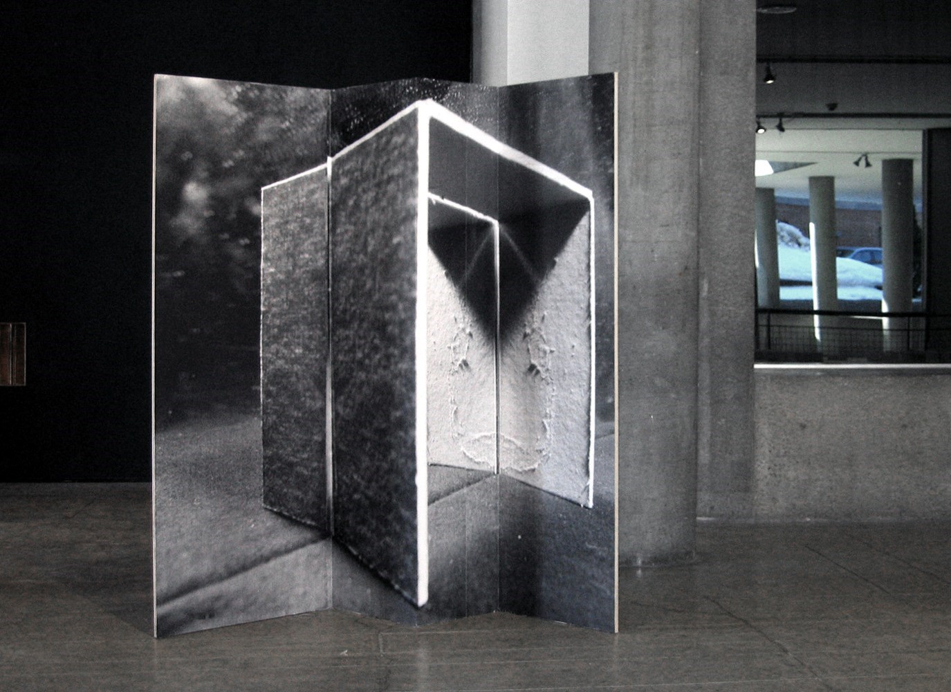 untitled (entrance), 220cm x 250cm, black & white prints on wood, 2013<br />Installation view The Carpenter Center, Cambridge
