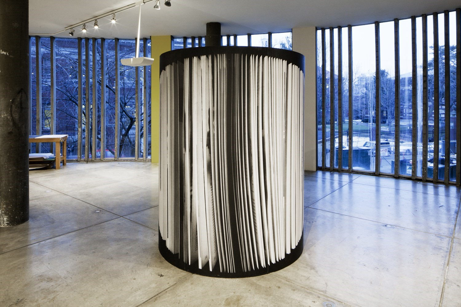untitled (open book), 220cm x 270cm, black and white prints on wood, 2013<br />Installation view The Carpenter Center, Cambridge