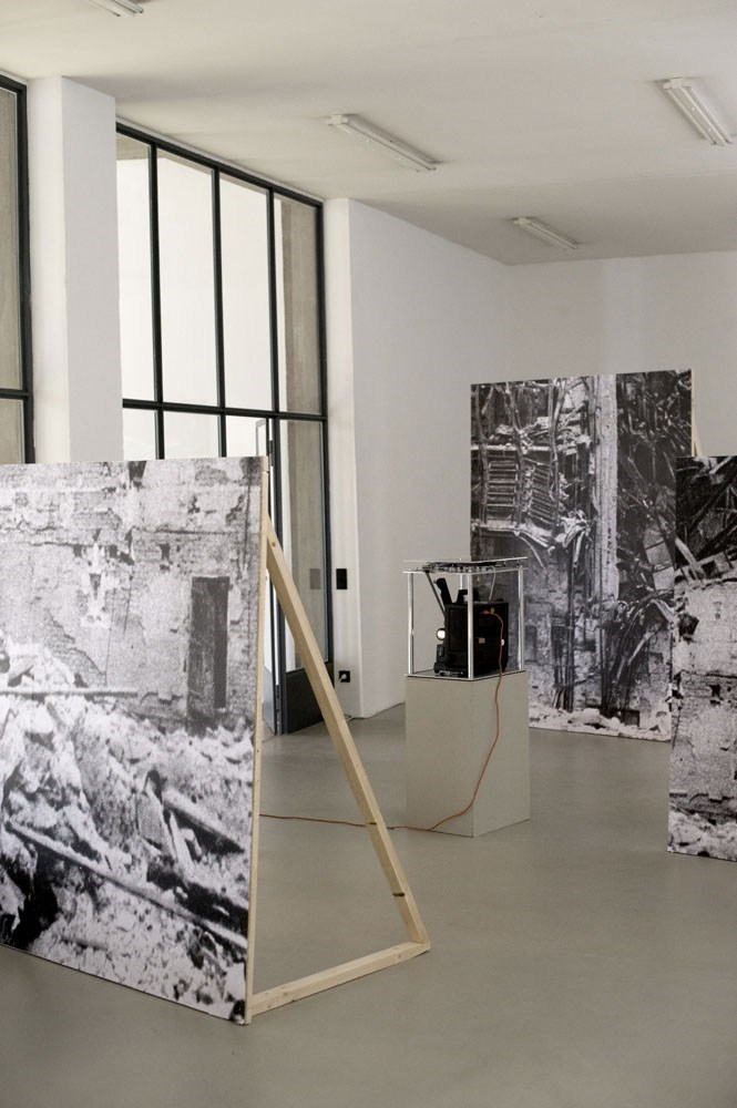 black & white prints and wood, dimensions variable, 2009<br />Installation view Kunstverein Nürnberg